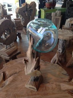 Glass on wood